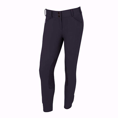 Tailored Sportsman Trophy Hunter Mid Rise Front Zip Breeches - black n blue
