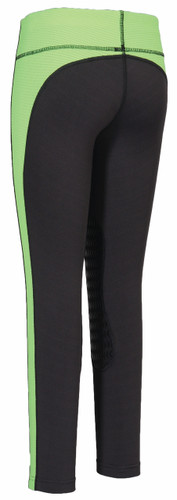 TuffRider Children's Ventilated Schooling Tights - charcoal w/neon green - back