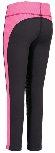 TuffRider Children's Ventilated Schooling Tights - charcoal w/neon pink - back