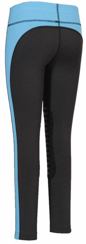 TuffRider Children's Ventilated Schooling Tights - charcoal w/neon blue - back