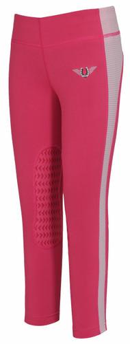 TuffRider Children's Ventilated Schooling Tights - hot pink w/pink