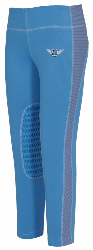 TuffRider Children's Ventilated Schooling Tights - french blue w/cornflower blue