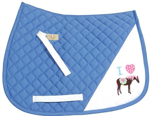 TuffRider I Heart Pony Girl Saddle Pad - parisian blue