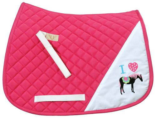 TuffRider I Heart Pony Girl Saddle Pad - hot pink