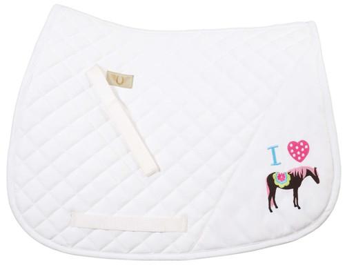 TuffRider I Heart Pony Girl Saddle Pad - white