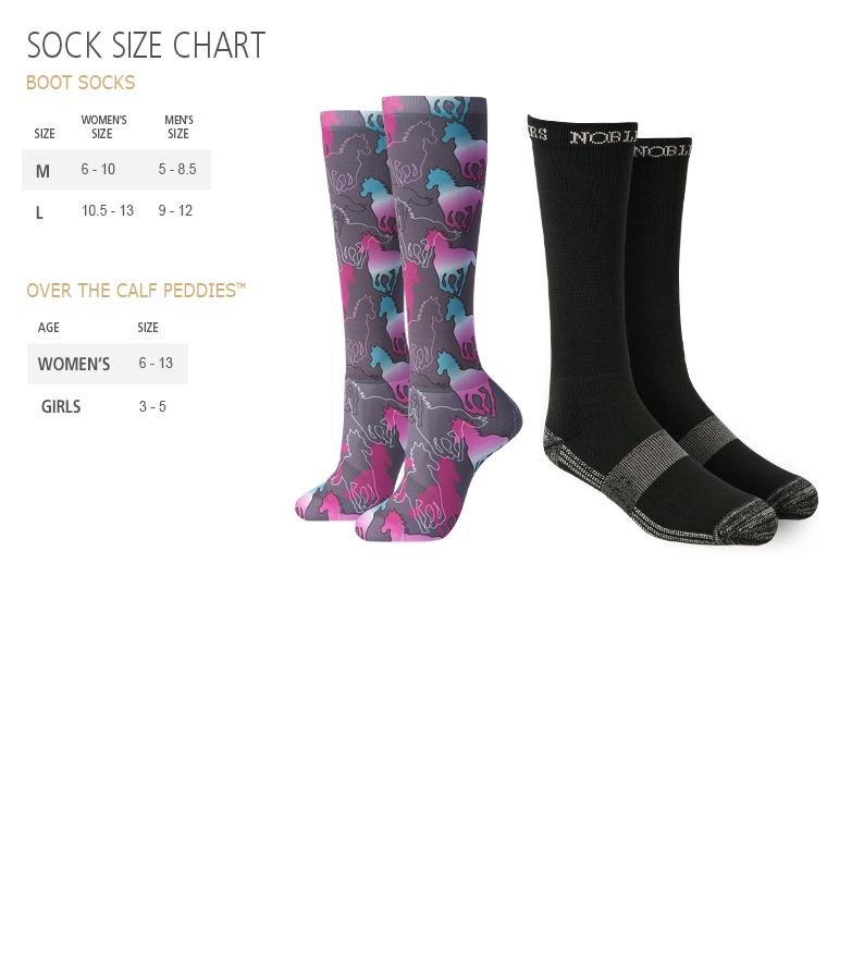 Noble Equestrian Socks Size Chart