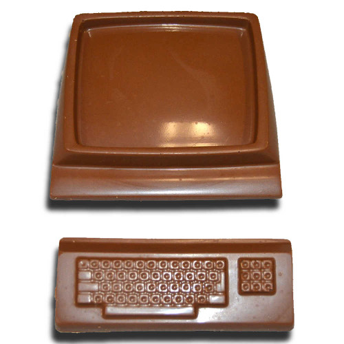 Chocolate Computer Monitor and Keyboard
