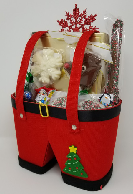 Santa pants chocolate gift basket
