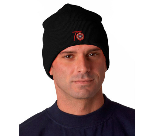 Captain America 75th Anniversary Logo Embroidered Knit Hat Beanie Cap
