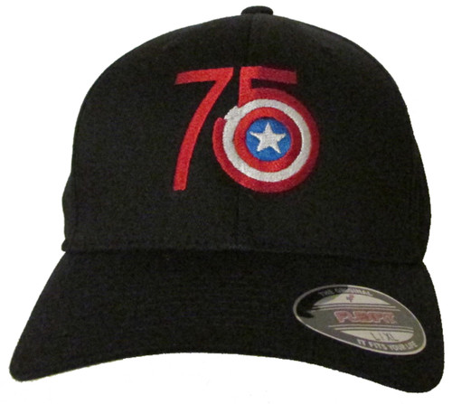 Captain America 75th Anniversary Logo Embroidered Baseball Hat - Cap