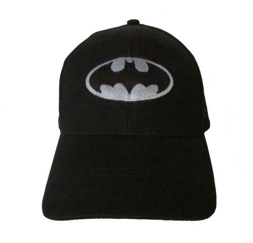 Batman (Classic) Logo in B&W Embroidered Baseball Hat - Cap