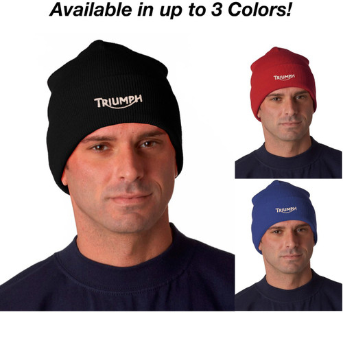 Triumph Motorcycle Logo Ver 2 Embroidered Knit Hat Beanie Cap