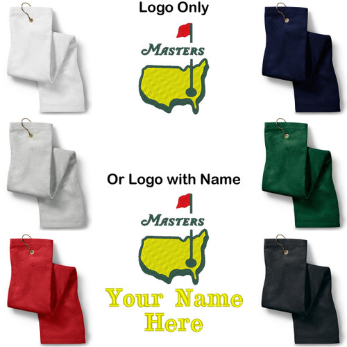 The Masters Golf Logo Embroidered Golf Sport Towel (Logo only or Custom/Personalized)