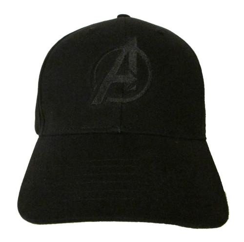 Avengers Movie Comic Logo #1 in BLACK on BLACK Embroidered Baseball Hat - Cap (Infinity War)