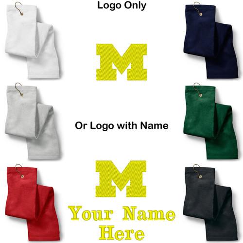 University of Michigan U of M Logo Embroidered Golf Sport Towel Reg. or Custom/Personalized