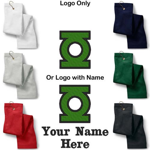 Green Lantern Logo Embroidered Golf Sport Towel Reg. or Custom/Personalized