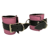 BDSM Pink Leather Cuffs Fleece Lined Bondage Restraints