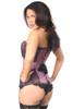 Top Drawer Plus Size Purple Brocade Steel Boned Corset w/Black Eyelash Lace