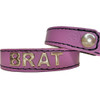 Real Leather Snap Back Pink 17 inch Brat Collar