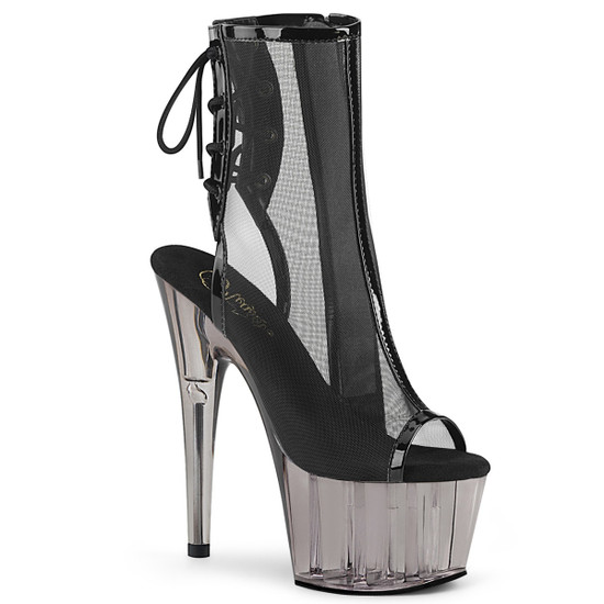 PLEASER 7\ Heel, 2 3/4\ Tinted PF Open Toe Ankle Boot, Side Zip ADORE-1018MSHT MyStripperClosetcom