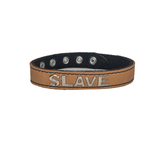 Real Leather Snap Back Tan 17 inch Slave Collar Spring Hill Wood Works MyStripperCloset.com