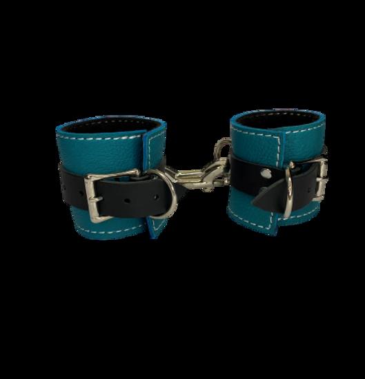 BDSM Turquoise Leather Cuffs Fleece Lined Bondage Restraints