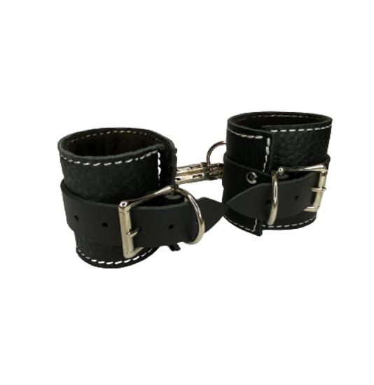 BDSM Black Leather Cuffs Fleece Lined Bondage Restraints