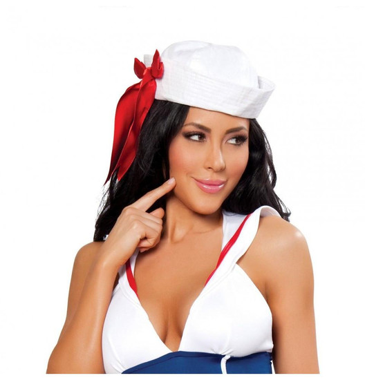 H104 Sailor Hat with Red Ribbon
