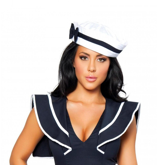 H105-Sailor Hat with Blue Bow