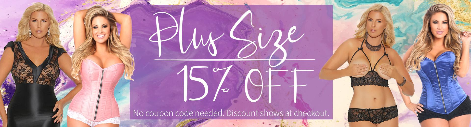 15% off all plus size items MyStripperCloset.com