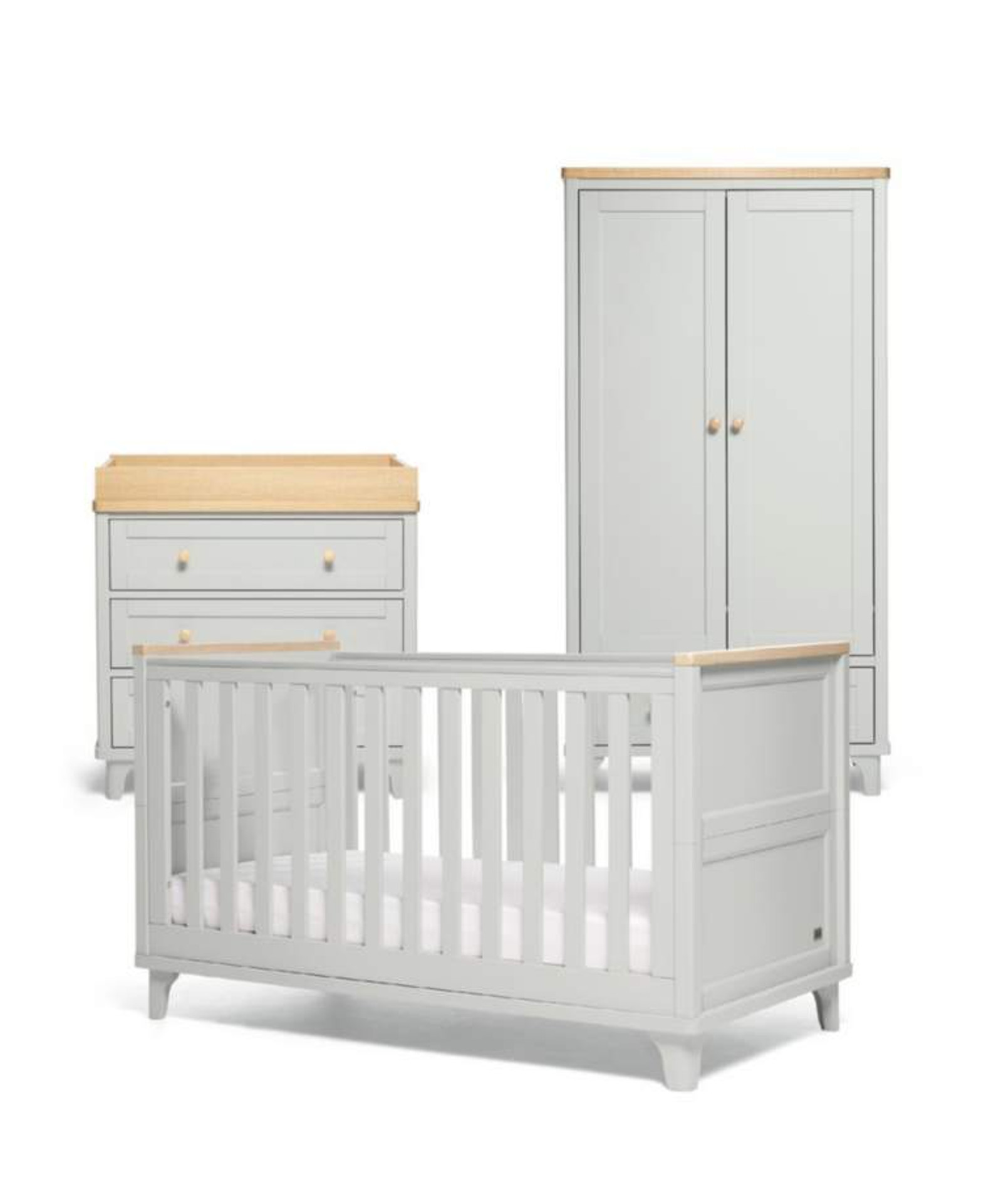 Mamas & Papas Trista 3 Piece Cot bed Range - Grey/Oak