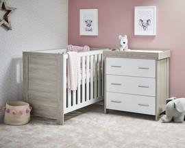 Obaby Nika Mini 2 Piece Room Set - Grey Wash & White