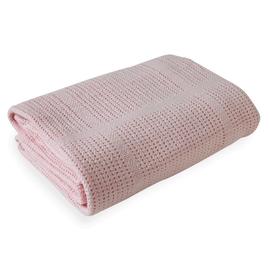 Clair de Lune Soft Cotton Cellular Cot Blanket - Pink