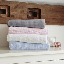 Clair de Lune Soft Cotton Cellular Pram Blanket - Blue