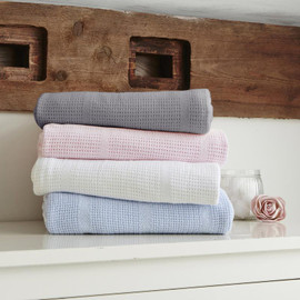 Clair de Lune Soft Cotton Cellular Pram Blanket - White