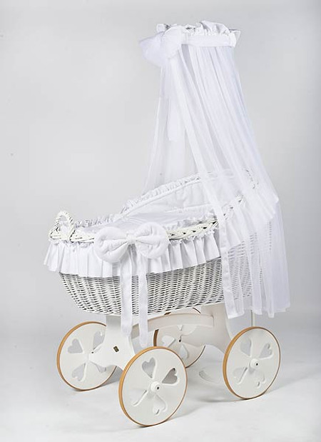 MJ Mark Bianca Due - White - Heart Wheels - Wicker Crib