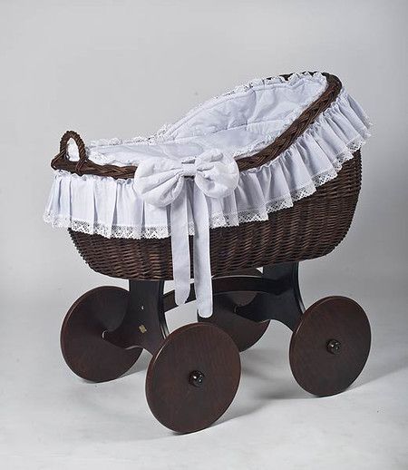 MJ Mark Bianca Tre - Antique White - Solid Wheels - Wicker Crib
