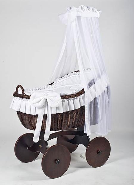 MJ Mark Bianca Tre - White - Solid Wheels - Wicker Crib