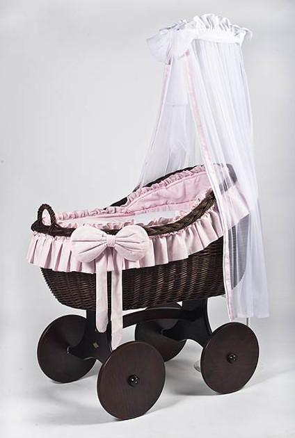 MJ Mark Bianca Tre - Pink - Solid Wheels - Wicker Crib