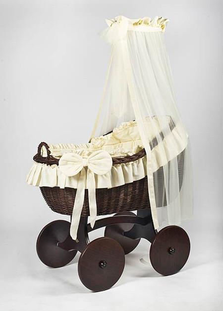 MJ Mark Bianca Tre - Ivory - Solid Wheels - Wicker Crib