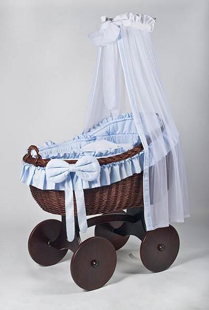 MJ Mark Bianca Tre - Blue - Solid Wheels - Wicker Crib