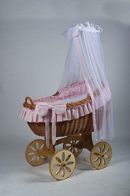 MJ Mark Bianca Uno - Pink - Spoke Wheels - Wicker Crib