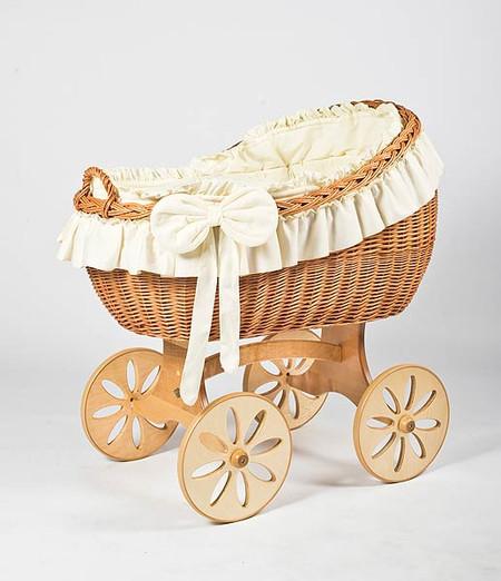 MJ Mark Bianca Uno - Ivory - Spoke Wheels - Wicker Crib