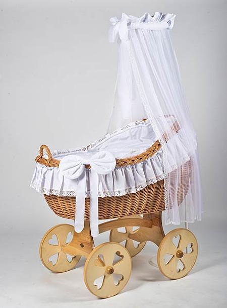 MJ Mark Bianca Uno - Antique White - Heart Wheels - Wicker Crib