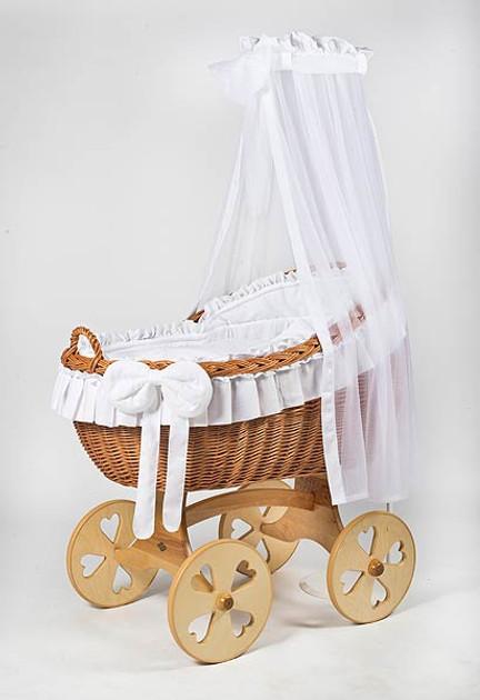 MJ Mark Bianca Uno - White - Heart Wheels - Wicker Crib