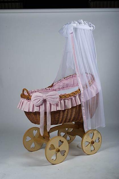MJ Mark Bianca Uno - Pink - Heart Wheels - Wicker Crib