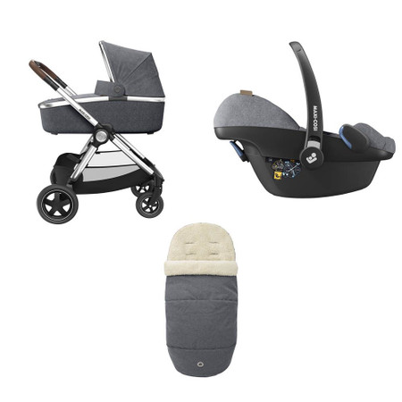 Maxi Cosi Adorra Luxe Travel System Bundle + FREE Familyfix 2 Base - Grey Twillic
