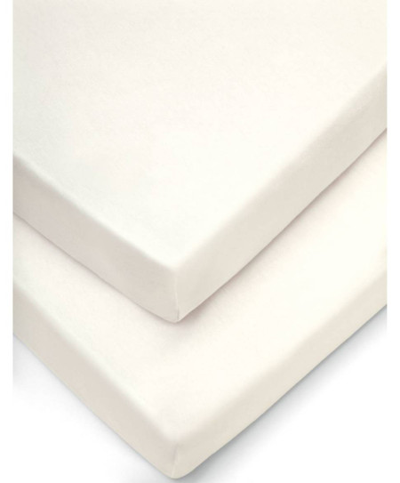 Mamas & Papas 2 Cot/Bed Fitted Sheets (70x14cm) - Cream