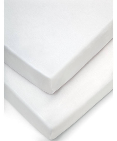 Mamas & Papas 2 Cot/Bed Fitted Sheets (70x14cm) - White
