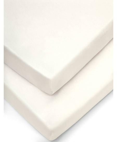 Mamas & Papas 2 Crib Fitted Sheets (40x94cm) - Cream